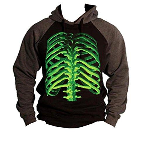 - Glowing Halloween Skeleton Bones Men's Black/Charcoal Baseball Hoodie Sweater X-Large Black