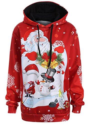 Unisex 3D Digital Print Santa Claus Snowflake Funny Christmas Hoodie Sweatshirt size 3XL (Adult Santa Hoodie)