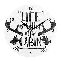 Kefanlk Log Cabin Life Better Clock Wall Mount 9.4 Decorative Wall Clock Living Room Decoration