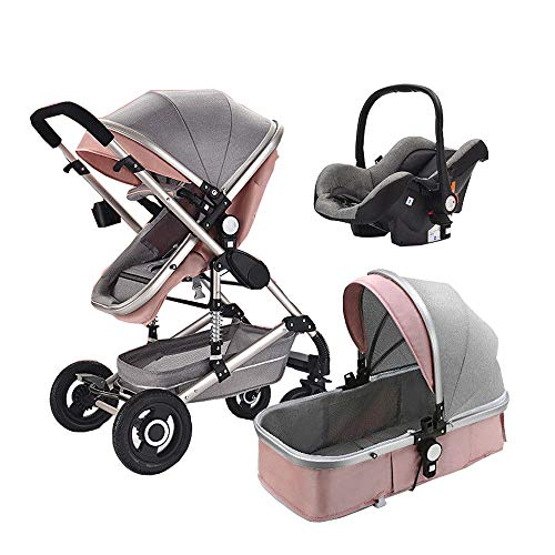 High end Baby Stroller 3 in 1 with car for Newborn Alta Vista Folding Stroller Baby Carriage Travel System Baby cart 3 em 1 (Pink) ()