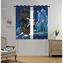 iPrint Stylish Window Curtains,Pirate,Caribbean Waters Adventure Time Volcano Explosion Sea Storm Skull Island Jolly Roger,Multicolor,2 Panel Set Window Drapes,for Living Room Bedroom Kitchen Cafe