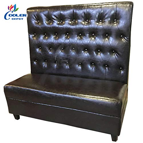 (Seating Booth Black Leather Button Style Commercial Business Kitchen Industrial Seating Booth (2))