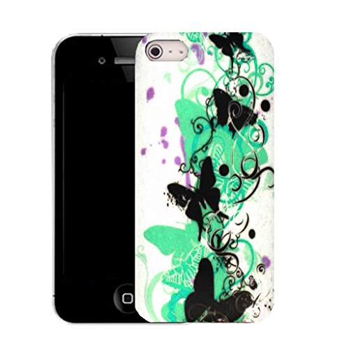 Mobile Case Mate IPhone 5S clip on Silicone Coque couverture case cover Pare-chocs + STYLET - aqua creeping butterfly pattern (SILICON)