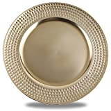 Fantastic 6-Piece Round Plates with Metallic Finish, 13 by 13 - Inch, Side Hammer Gold