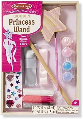 Melissa & Doug Decorate-Your-Own Wooden Princess Wand (Arts & Crafts, Shatterproof Mirror, Craft Kit & Keepsake, Great Gift for Girls and Boys – Best for 4, 5, 6, 7 and 8 Year Olds)