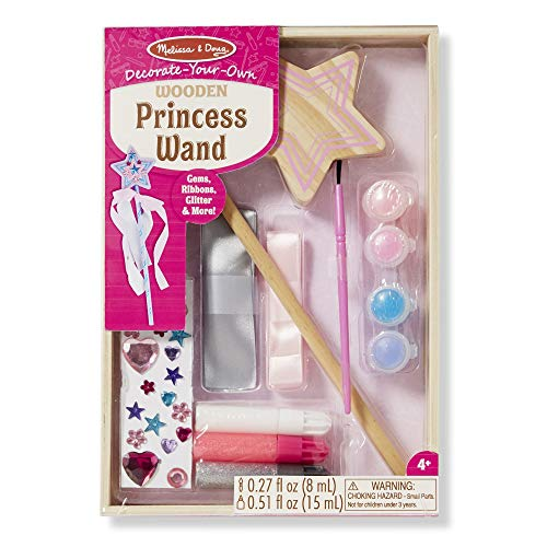 Melissa & Doug Decorate-Your-Own Wooden Princess Wand (Arts & Crafts, Shatterproof Mirror, Craft Kit & Keepsake)