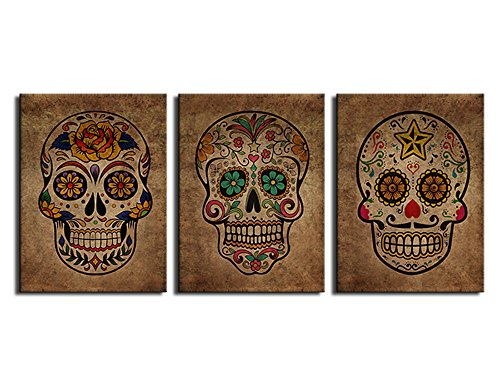 Mexican Bathroom Decor (Canvas Wall Art Sugar Skull Vintage Abstract Painting Day of The Dead Canvas Prints Contemporary Pictures Modern Artwork Framed Wall Decor for Living Room Bedroom 3 Pieces of 12