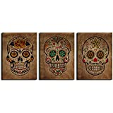 "Canvas Wall Art Sugar Skull Vintage Abstract Painting Day of The Dead Canvas Prints Contemporary Pictures Modern Mexican Artwork Framed Wall Decor for Living Room Bedroom 3 Pieces of 12"" x 16"""