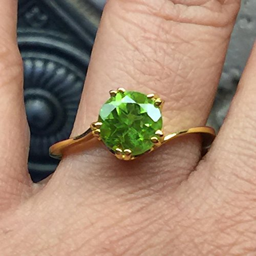 Natural 1.5ct Apple Green Peridot 14K Yellow Gold Vermeil Over Sterling Silver Ring sz 7, 8.25 (1.5 Ct Peridot Ring)