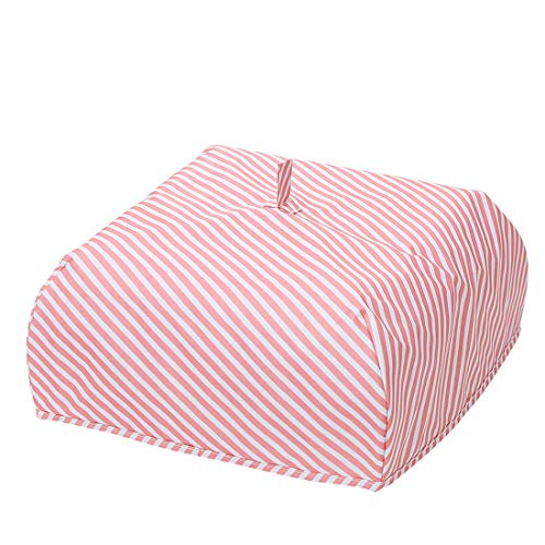 Oyachic Insulated Food Cover Hot Collapsible Food Tent Thermal Pop Up Umbrella Cover Waterproof Aluminum Foil Reusable Protect Food From Bugs,Dust and Mosquitoes (pink stripes)