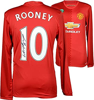 168f3a91b Amazon.com  Wayne Rooney Manchester United Autographed 2016-17 Home Jersey  - Fanatics Authentic Certified - Autographed Soccer Jerseys  Sports  Collectibles