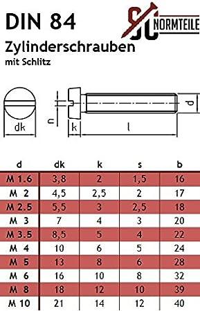10 St/ück - DIN 84 Edelstahl A2 V2A Vollgewinde SC84 M4x8 - Zylinderschrauben mit Schlitz