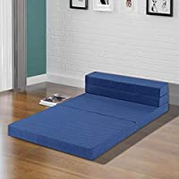 Olee Sleep 4'' Tri-Fold Multi-Functional I-Gel Infused Memory Foam Sofa Bed/Floor Mat, Blue, Twin XL