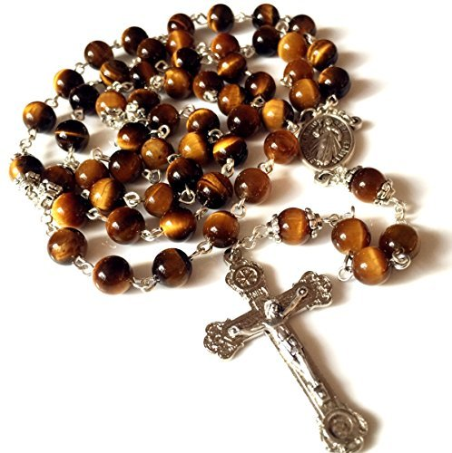elegantmedical Handmade Tiger Eye Jade Rosary Beads Relic Cross Crucifix Catholic Necklace Box
