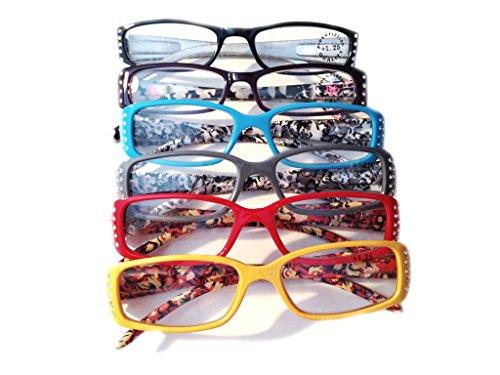 (Designer Women's Plastic Reading Glasses Pack of 6 Floral/Polka Dot/Shimmer Snake 1.5)