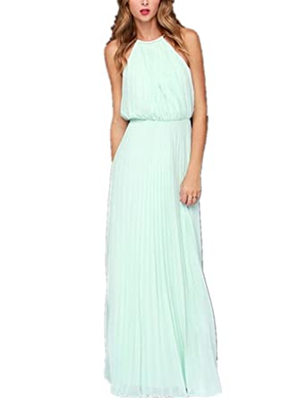 Chez BoBos Womens Chiffon Pleated Halter Neck Maxi Party Homecoming Prom Dress Blue M