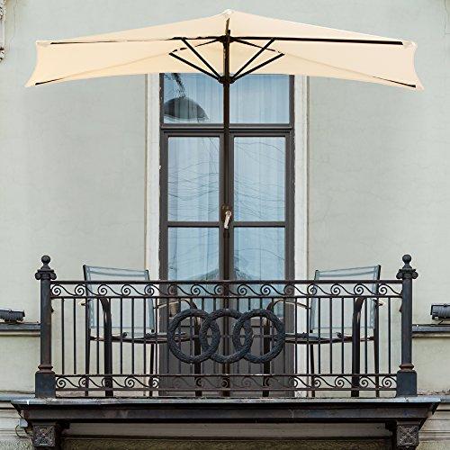Pure Garden 9′ Half Round Patio Umbrella, Tan