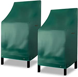 RosieLily Chairs Covers Outdoor Bar Stool Cover Stackable Chairs Cover 420D Waterproof Furniture Covers Durable PVC Thick Oxford Cloth Green (L27.5 x D27.5 x H49.2 inch, 2Pack)