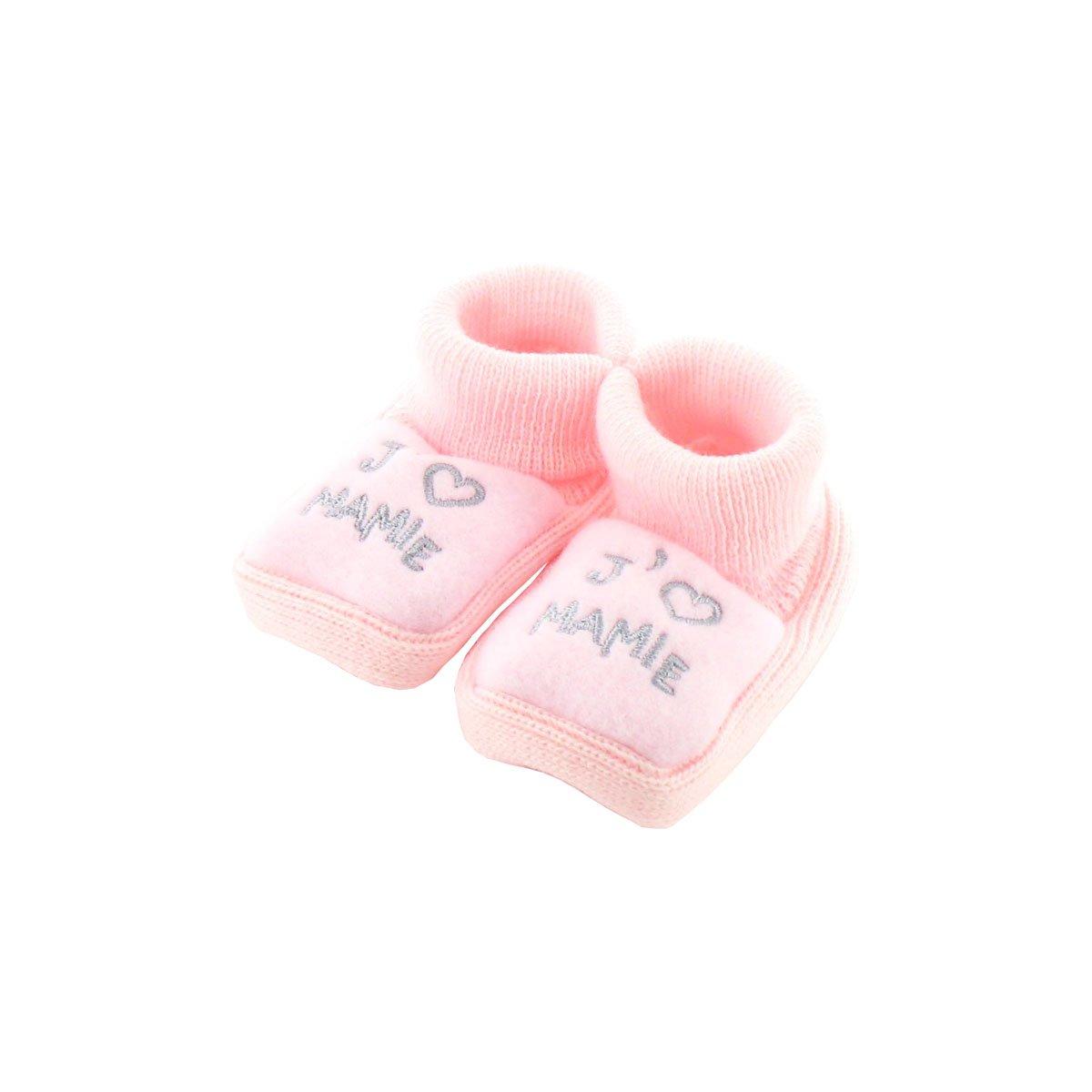 Chaussons pour bébé 0 à 3 Mois rose - J'aime mamie Fruit de ma Passion