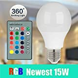 Magicmoon E27 15W RGB LED Light Bulb 16 Colors Changing Dimmable Multi Color LED Light with IR Remote Control 360° Beam Angle LED Lamp 85-265V for Home Decoration/Bar/Party/KTV Mood Lighting