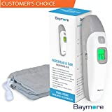 Baymore Digital Baby Forehead and Ear Infrared Thermometer, Portable Handheld Dual Temperature Gun, Instant Readings Fever Indicator for Infants Kids Adults