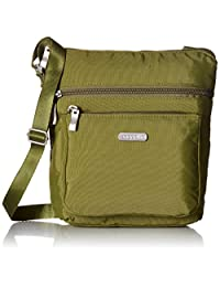 Baggallini Pocket Crossbody Bag Organizational Pockets with Lightweight Nylon, Moss, One Size (Model:POC879-Moss)