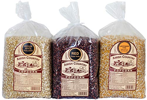 Amish Country Popcorn - 3 (6 Pound Bags) Red, Ladyfinger & Medium White Kernels - With Recipe Guide - Old Fashioned, Non GMO, and Gluten Free
