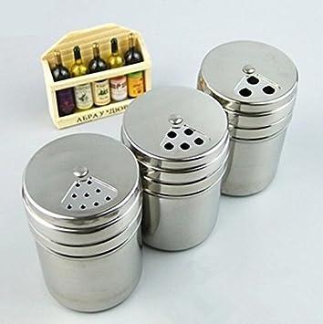 3 Teiliges Edelstahl Spice Jar Pfefferstreuer Aufbewahrung Flasche