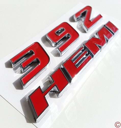 Yoaoo-oem® New Chrome OEM 392 Hemi 6.4l Emblem Badge Decal 3d for Dodge Challenger Chrysle 300c (Red) by Yoaoo-oem