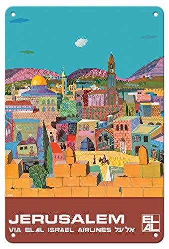 Pacifica Island Art 8in x 12in Vintage Tin Sign - Jerusalem, Israel - via El Al Israel Airlines by Peri Rosenfeld