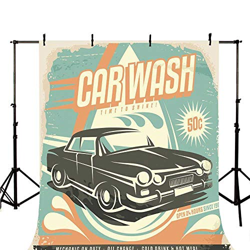 Cars Stylish Backdrop,Retro Car Wash Poster Mechanic Repair Cleaning Grunge Advertising for Photography,98.4