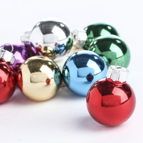 - Package of 36 Tiny Assorted Color Glass Ball Ornaments for Embellishing Packages, Trees and Crafts