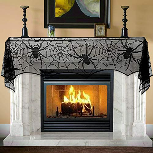 Unomor Halloween Decorations 25 x 121 inch/65 X 308cm Jumbo Black Lace Spiderweb Fireplace Mantle Scarf Cover Halloween Party Supplies for Door, Table, Stairs, Garden Fence -