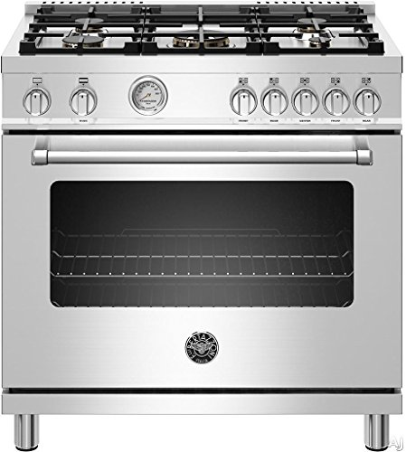 Bertazzoni MAST365GASXE 36 Inch Master Series Gas Range with 5 Burners, Cast Iron Grates, 5.9 cu. ft. Capacity and Convection