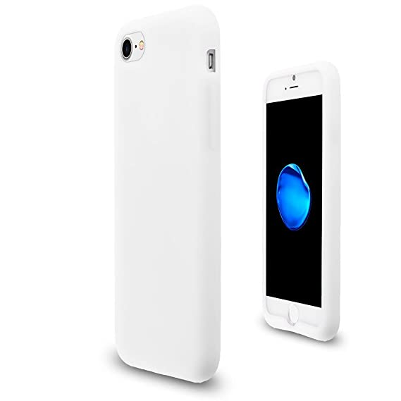 the latest 694d0 3157d JNSupplier Soft Silicone Rubber Case Flexible Matte Skin Jelly Cover For  Apple iPhone 7 8 (White)