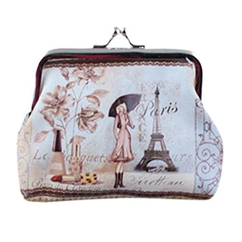 Mikey Store Womens Small Wallet Card Holder Coin Purse Clutch Handbag (White 4)