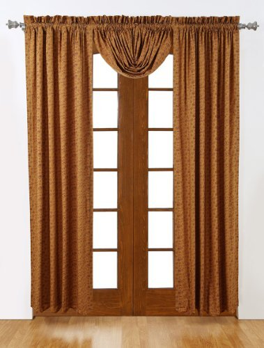 84 in. Scalloped Lined Window Curtain in Red - Set of - Scalloped International