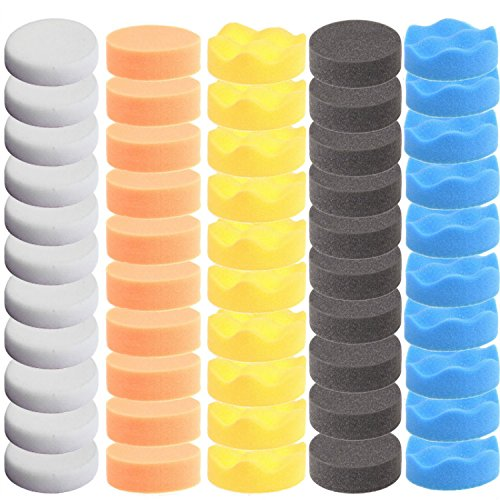 "ZFE 50pcs 3""/80mm Compound Drill Buffing Sponge Pads Polishing Pad Buffer Pad Kit for Car Polisher Boat Polishing,Motocycle Sanding, Polishing, Waxing"