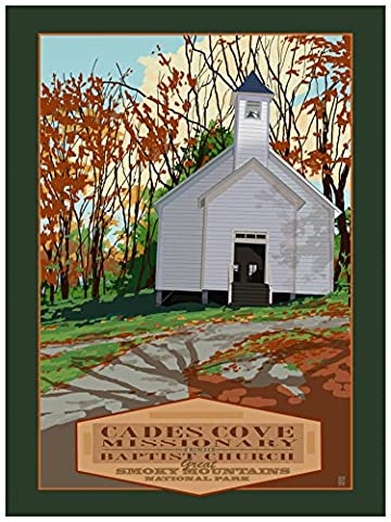 Cades Cove Missionary Smokey Mountains National Park Giclee Travel Art Poster by Artist Mike Rangner (18 x 24 inch) Art Print for Bedroom, Family Room, Kitchen, Dorm Room or Office Wall - Cades Cove Smokey Mountains