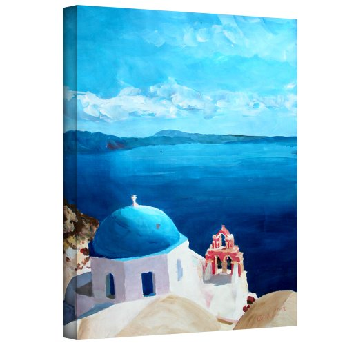 Art Wall 'Oia Santorini with Blue Sky' Gallery Wrapped Canvas Artwork by Markus Bleichner, 48 by 36-Inch