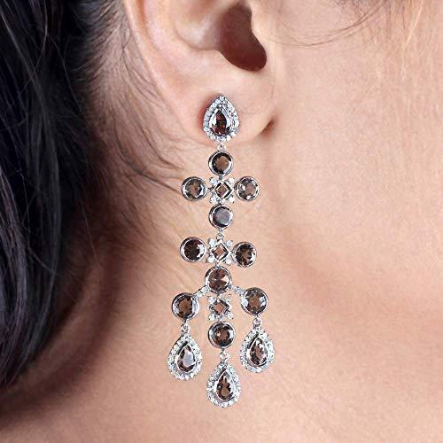 (Genuine 1.68 Ct. Pave Diamond Smoky Quartz Dangle Earrings Solid 925 Sterling Silver Halloween Jewelry Christmas Gift Idea)