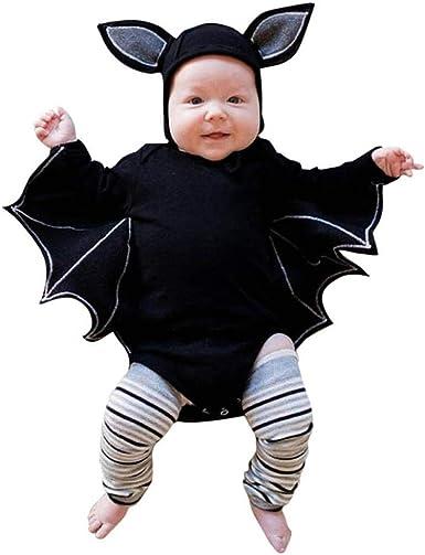 Newborn Baby Boys Girls Halloween Cartoon Cosplay Costume Romper Hat Outfits