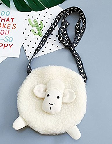 Kids Cute Sheep Shoulder Bag Girls Plush Cross Body Bag Messenger Backpack Small Wallet Coin Purse Baby Travel Phone Pouch Key Bag Satchel Snacks Bag