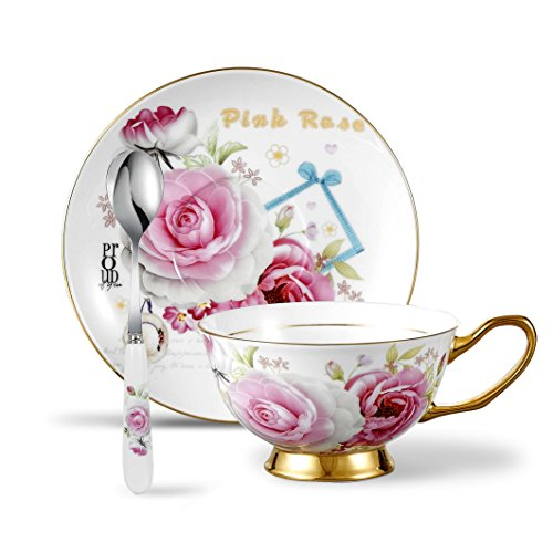 Panbado 3-Piece Bone China Cup and Saucer Set with Spoon for Coffee Tea, 6.8oz/200ml - Pink Rose