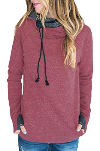 HOTAPEI Cute Pink Long Sleeve Pullover Sweatshirt Women XXL (Double Hooded Sweatshirt compare prices)