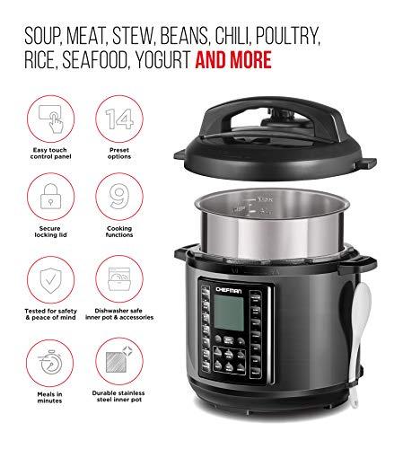 Chefman 6 Qt Multicooker 14 Presets Rice Soup/Broth Maker, Quart