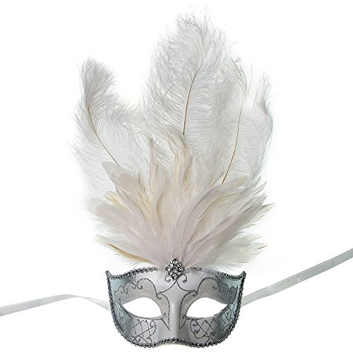 ILOVEMASKS Masquerade Ostrich Tall Feather Venetian Silver Glitter Party Mask - White Ostrich Feather Masks