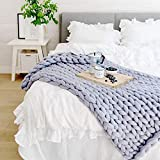 """Chunky Knit Blanket Throw,Pawaca Baby Blanket Soft Cable Yarn,Bulky Hand-Knitted Arm Wool Blanket,Knitting Soft Warm Super Large Bed Sofa Throw/Pet Chair Mat Rug,Queen King Big Size Grey 40""""x40"""""""
