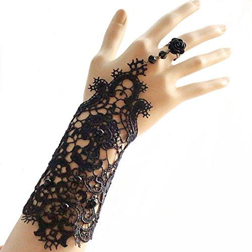 Yunsenshop Women's Flower Lace Bracelet Ring Sets Wedding Bridal Gloves Black