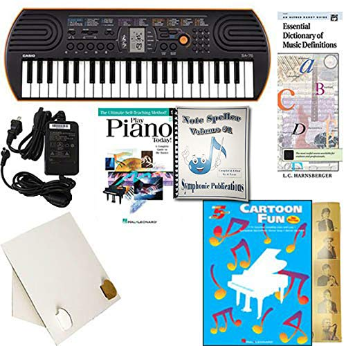 Homeschool Music - Piano Pack (Cartoon Fun) W/Casio SA76 Keyboard w/Adapter, learn 2 Play DVD/Book, Symphonic Note Speller Vol. 1 & All Learning Essentials